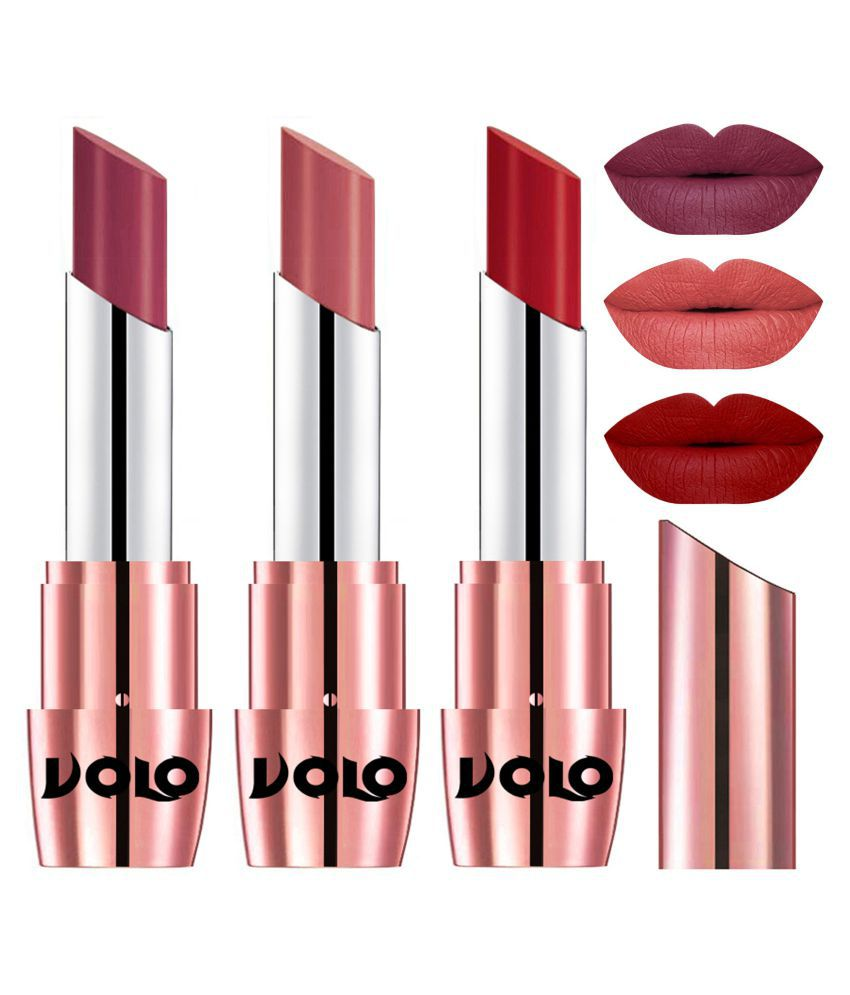 VOLO Perfect Creamy with Matte Lipstick Cherry,Light Peach, Red Pack of 3 10 g