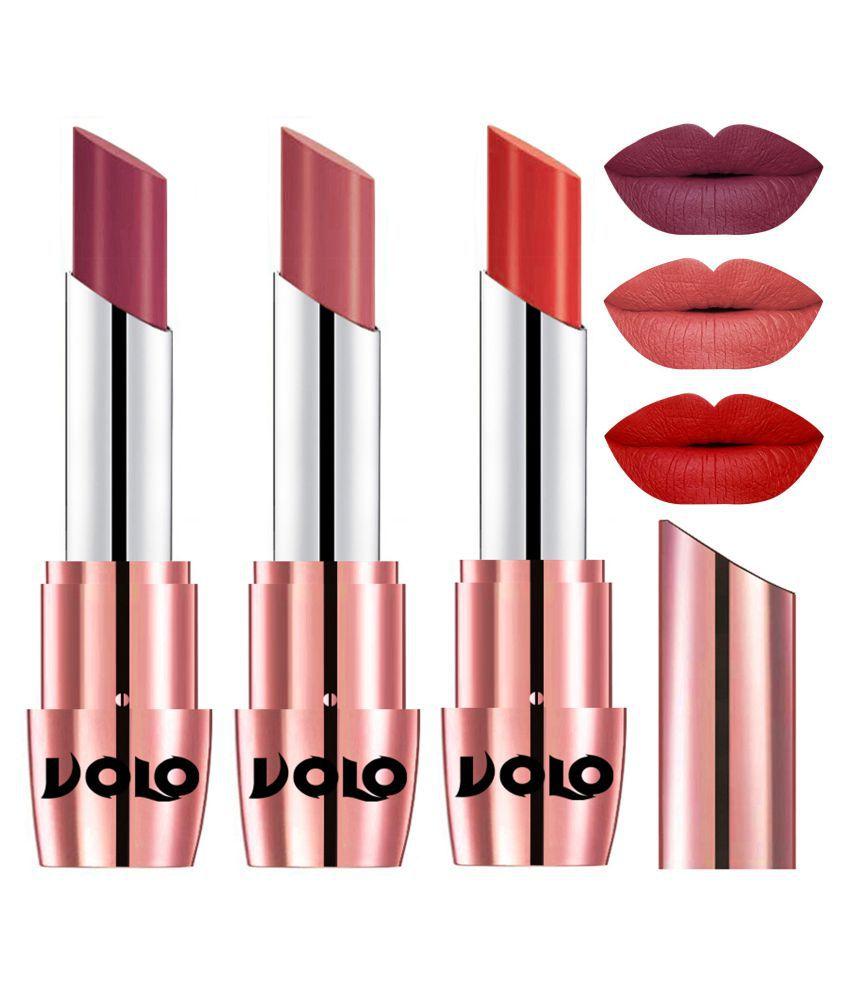VOLO Perfect Creamy with Matte Lipstick Cherry,Light Peach, Orange Pack of 3 10 g