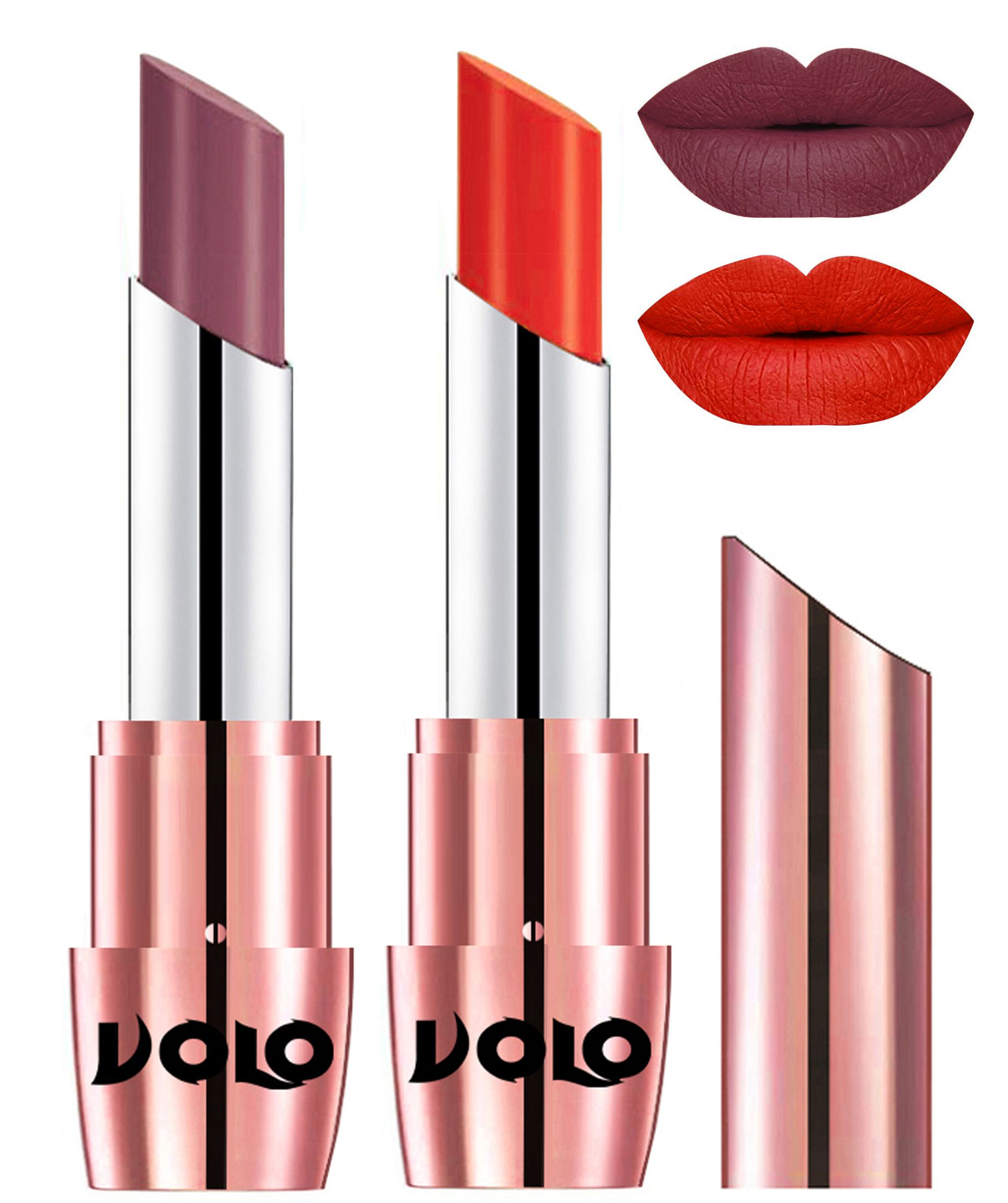 VOLO Perfect Creamy with Matte Lipstick Plum Coral Pack of 2 7 g