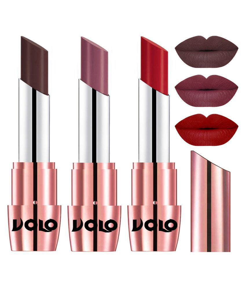 VOLO Perfect Creamy with Matte Lipstick Chocolate,Plum, Red Pack of 3 10 g