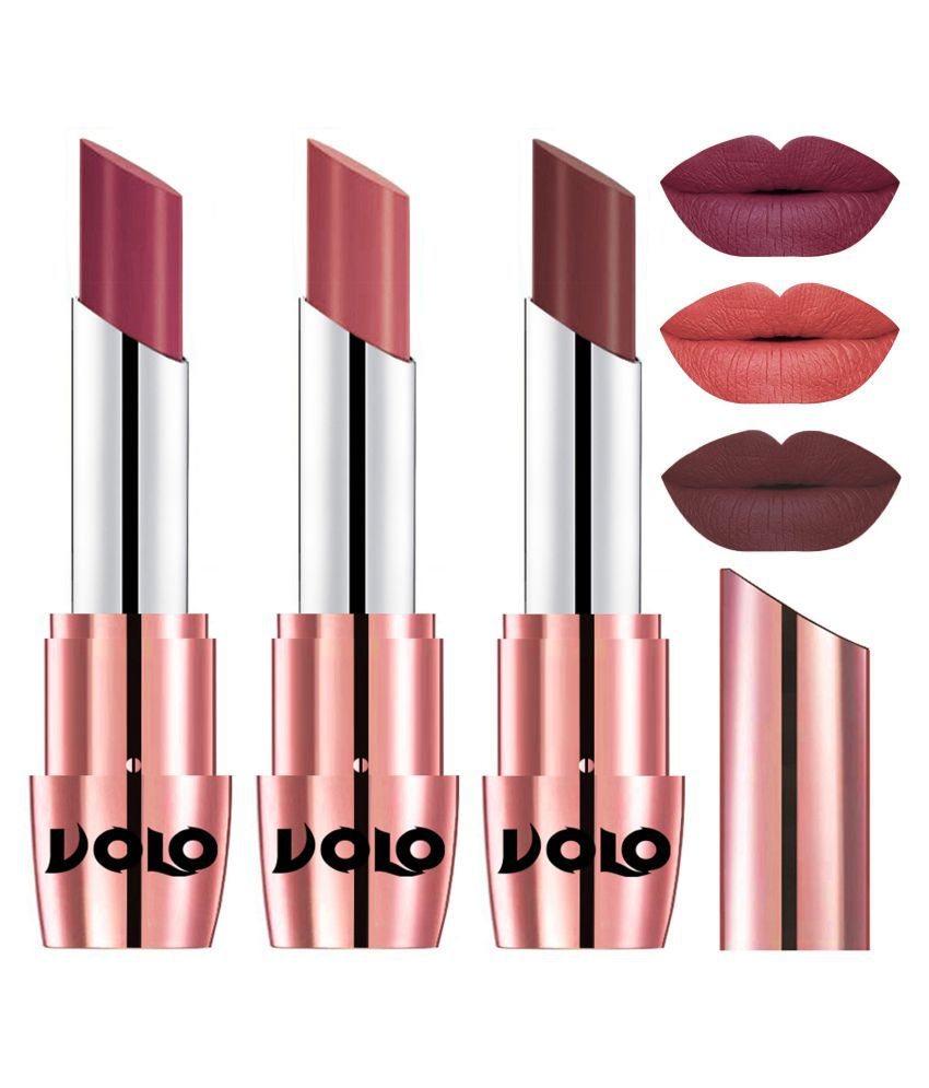 VOLO Perfect Creamy with Matte Lipstick Cherry,Light Peach, Coffee Pack of 3 10 g