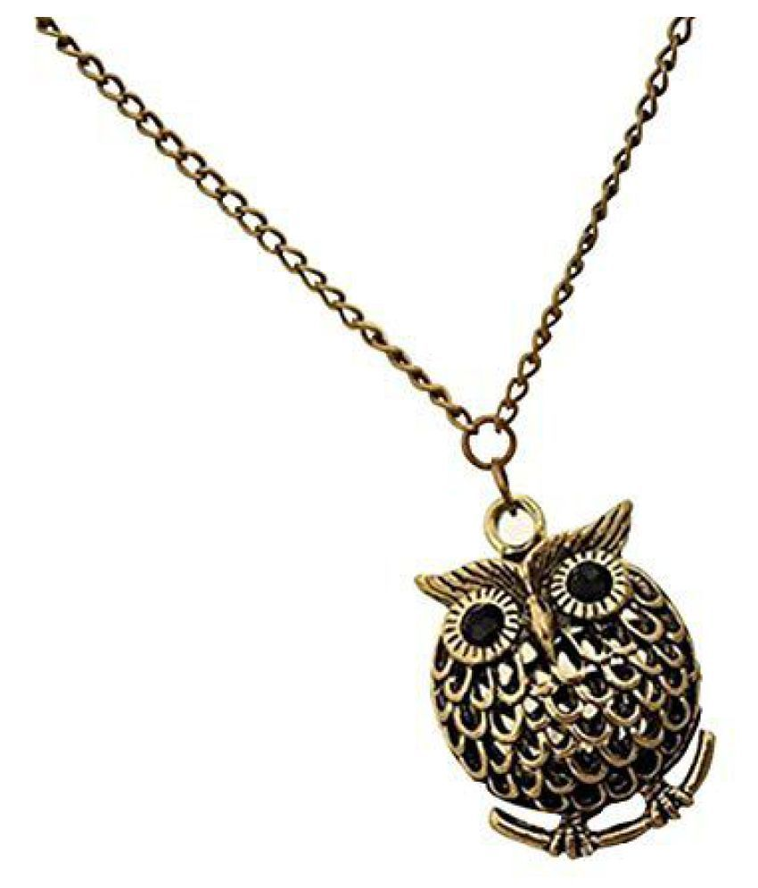 Gold Antique Owl Necklace Pendant With