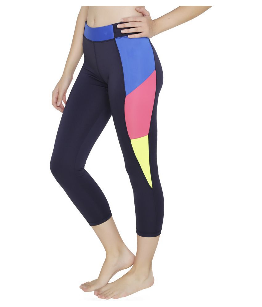 Baluchi Blue Polyester Solid Tights
