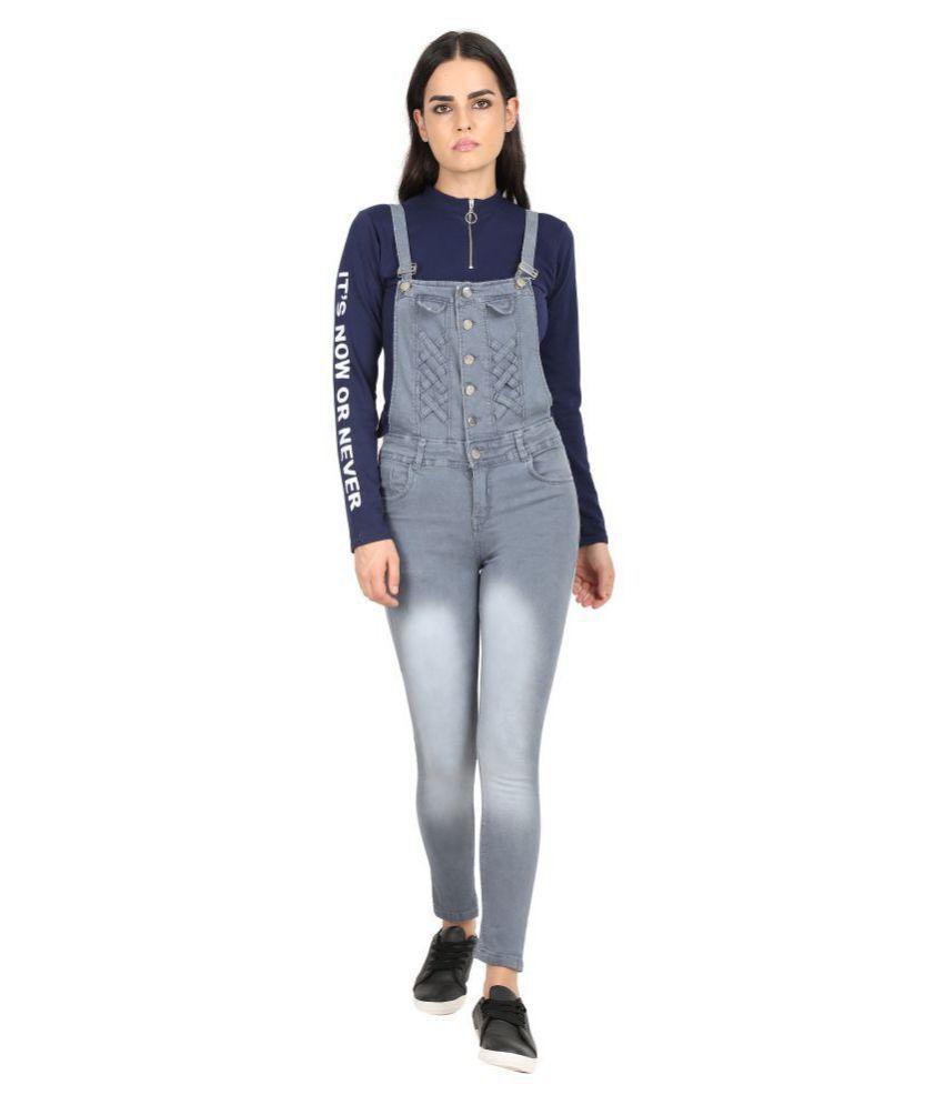 Curlx Fashion Grey Denim Jumpsuit