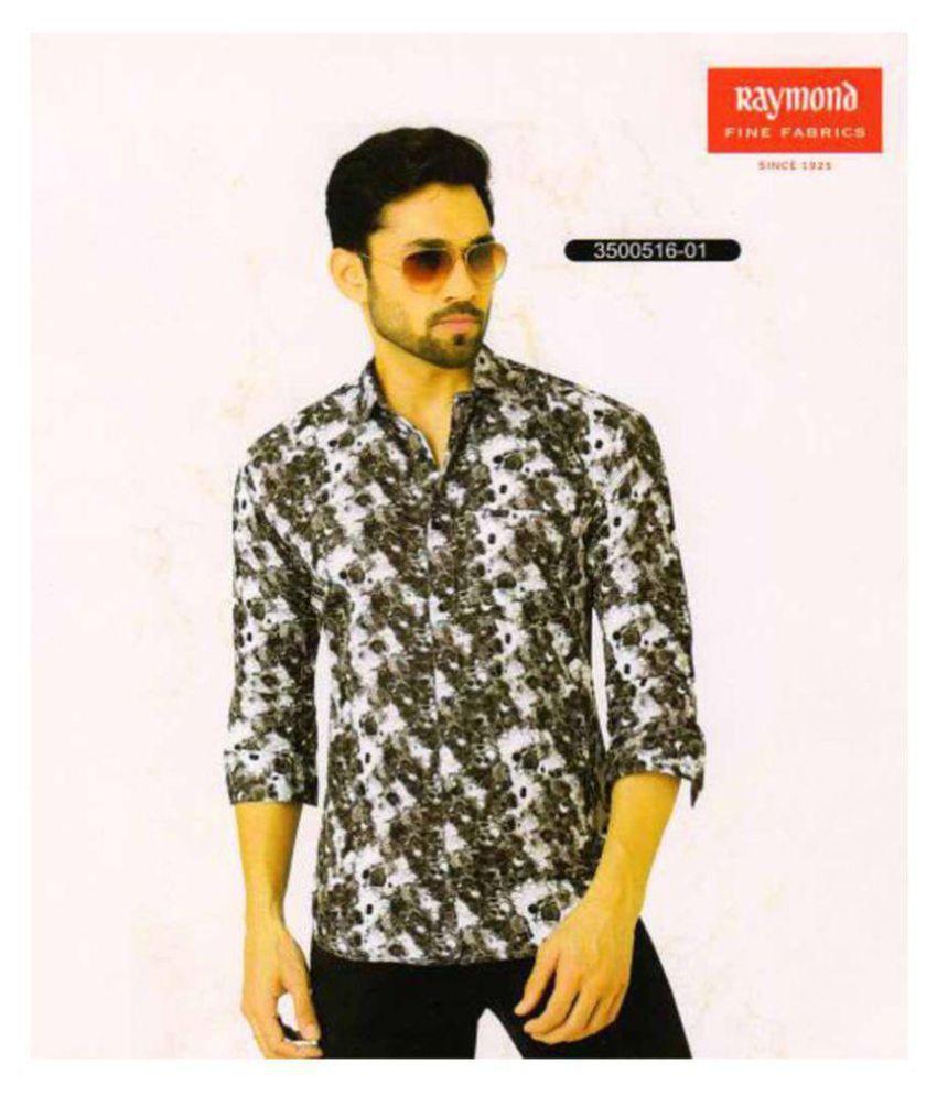 Raymond Black Cotton Blend Unstitched Shirt pc