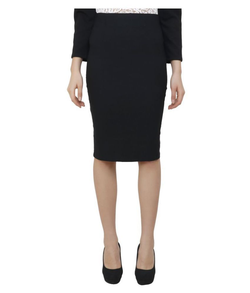 Aadrika Cotton Lycra Pencil Skirt - Black