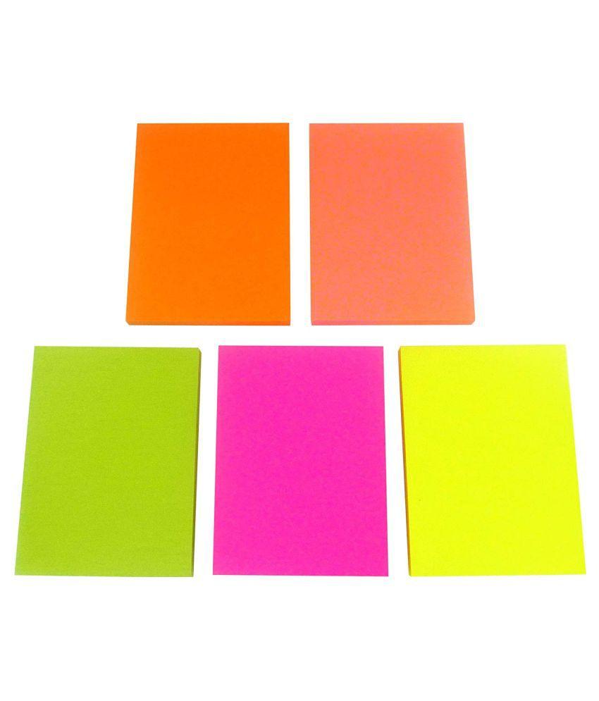 R H lifestyle Vibrant color 20 Sheets/Per Color Self Sticking note, 5 Colors