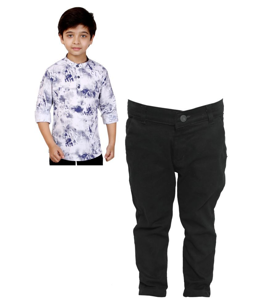 Made In The Shade Boy's Short Kurta and Adjustable Chino Trouser Set, 10-11 Years