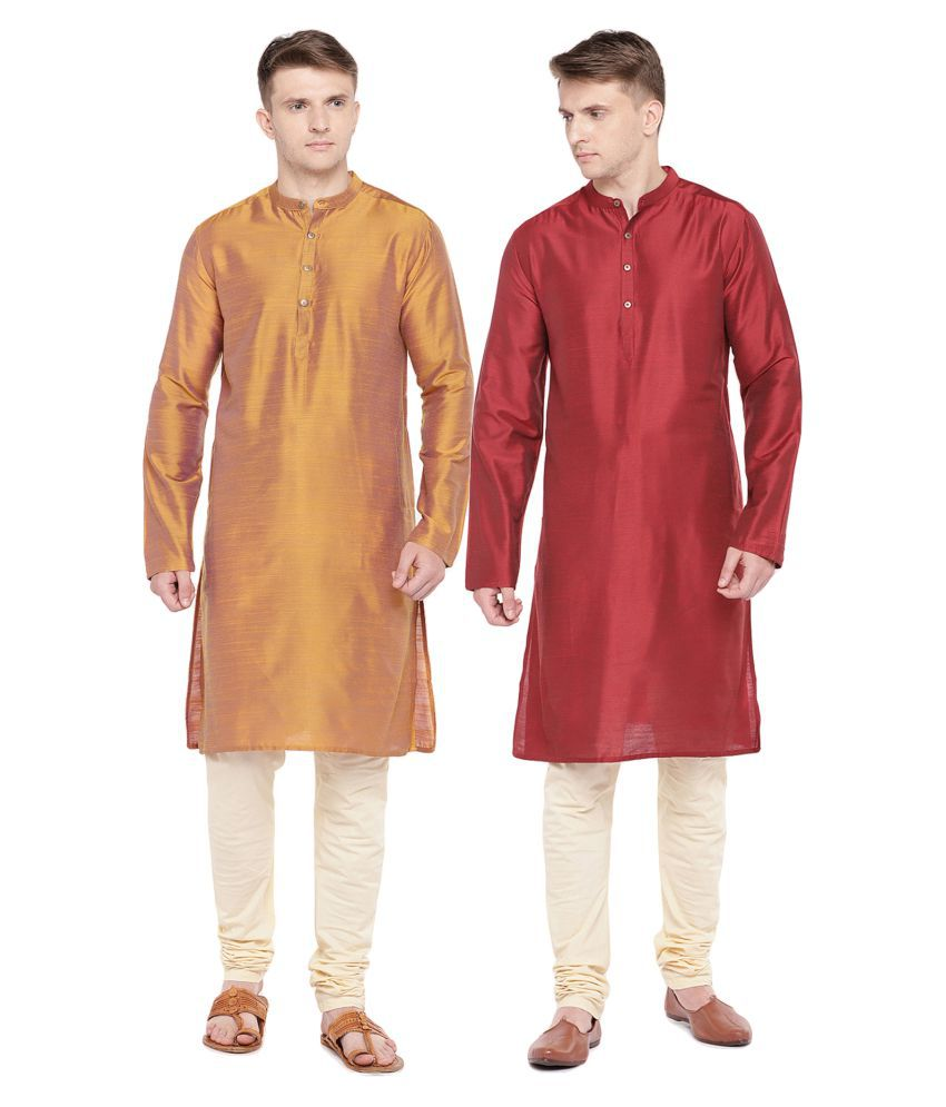 Salwar Studio Multi Silk Blend Kurta Pack of 2