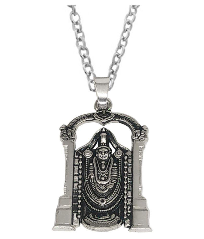 Shiv Jagdamba Religious Jewellery Lord Tirupati Balaji Silver Metal Pendant Necklace