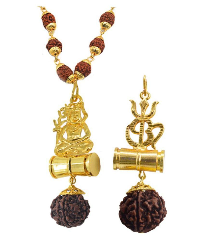 Shiv Jagdamba Religious Jewellery Om Trishul Shiv Gold Brown Brass Wood Pendant with Rudraksha Mala