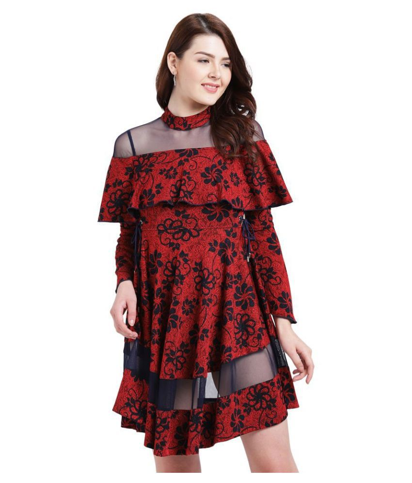 Texco Polyester Red Fit And Flare Dress
