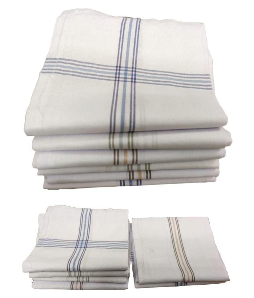 The Cotton Club Pure cotton white color Stripes 12pcs Rumal handkerchief hankies for men (raja)
