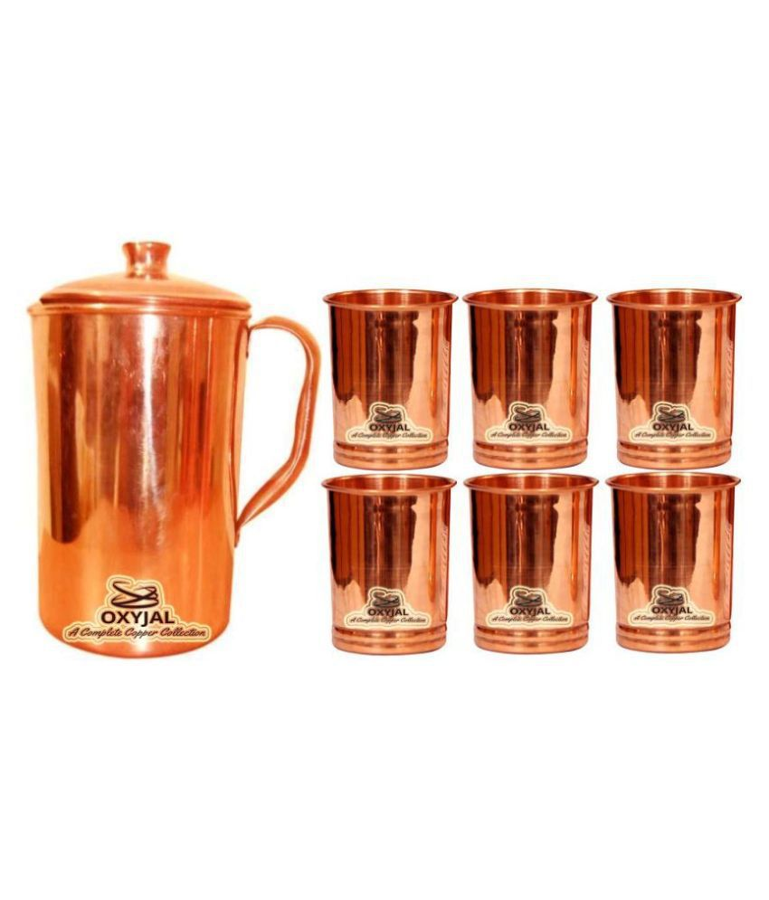 OXYJAL Copper Jug Gift Set 7 Pcs Jug and Glass Combo
