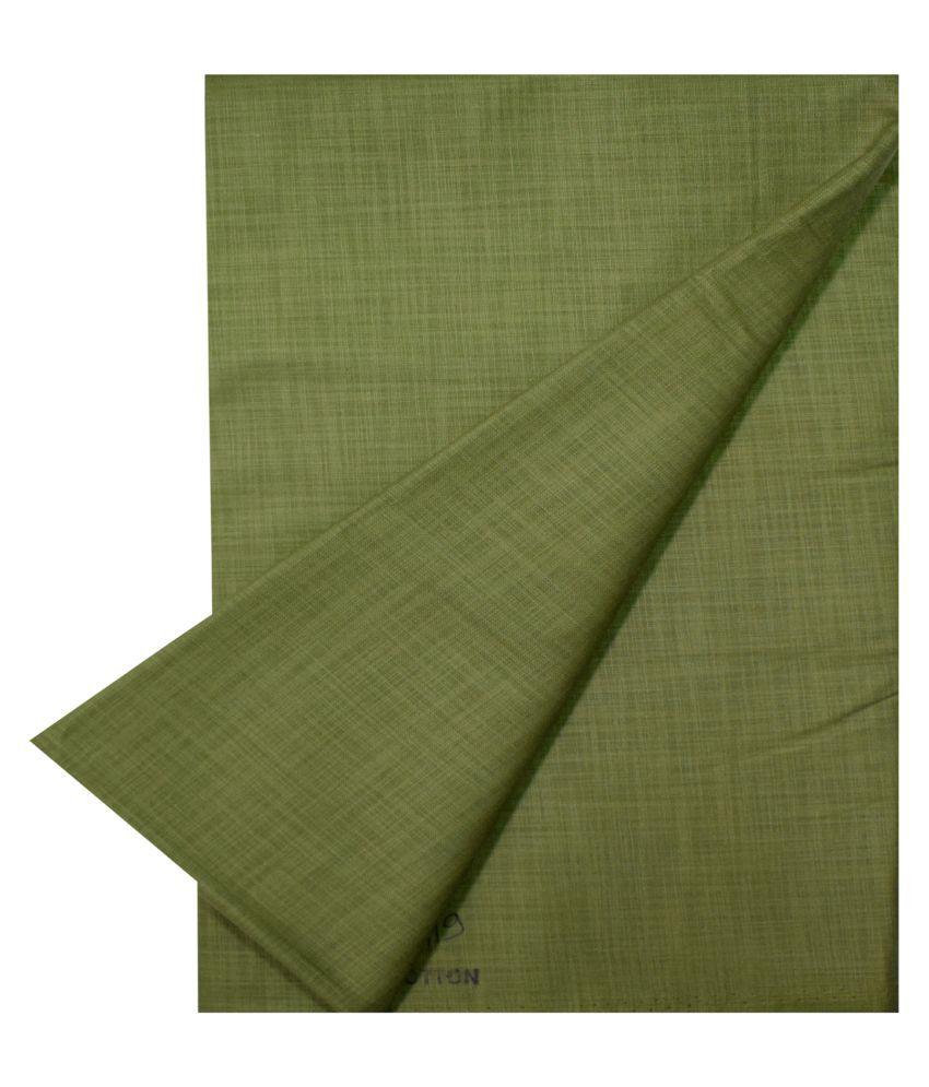 KUNDAN SUZ GWALIOR Green Cotton Blend Unstitched Shirt pc
