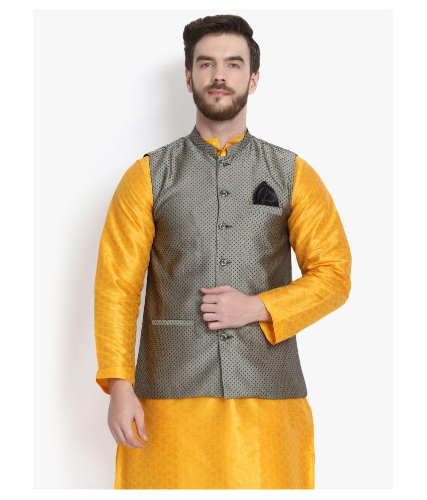Klotthe Grey Terry Rayon Nehru Jacket Single Pack
