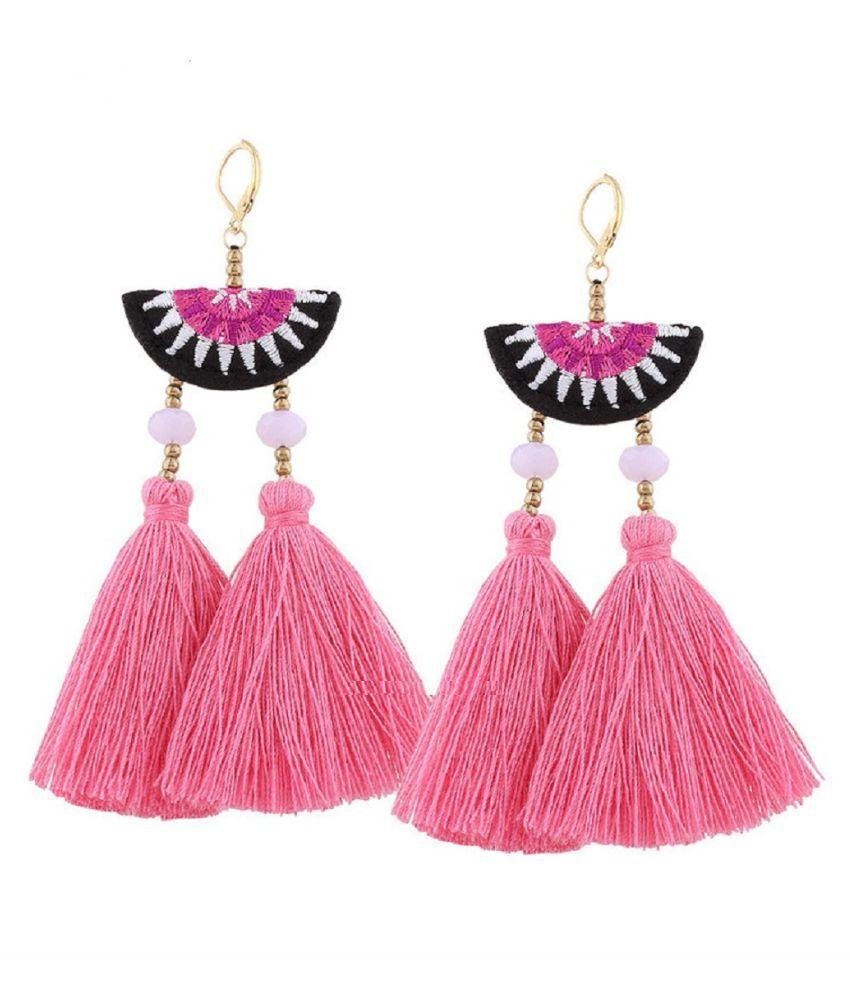 OOMPH Jewellery Pink Tassel & Beads Drop Fashion Earrings For Women & Girls