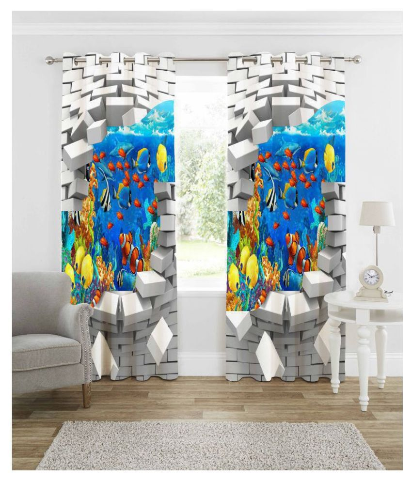 indiancraft Single Long Door Semi-Transparent Eyelet Polyester Curtains Multi Color