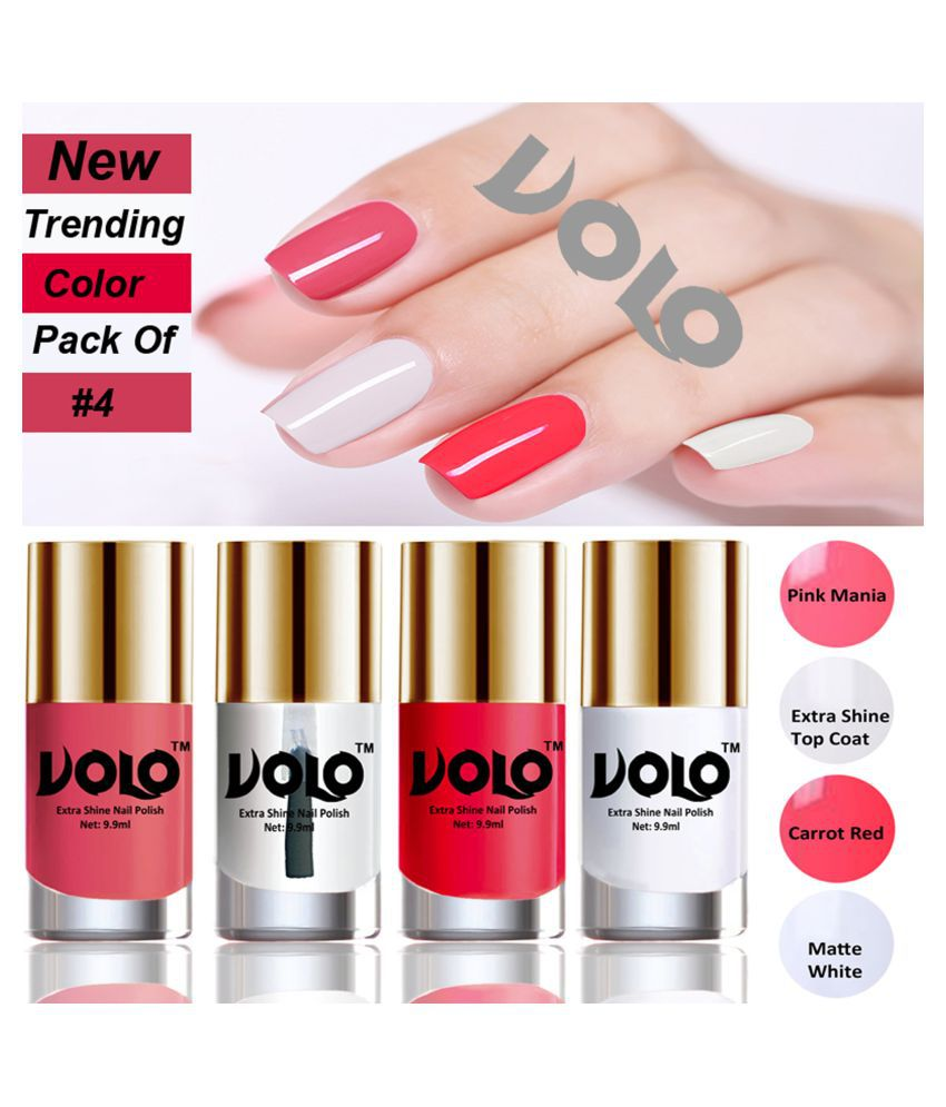 VOLO Grand Shine lasting High Definition Nail Polish Pink,Top Coat,Red, White Glossy Pack of 4 39 mL