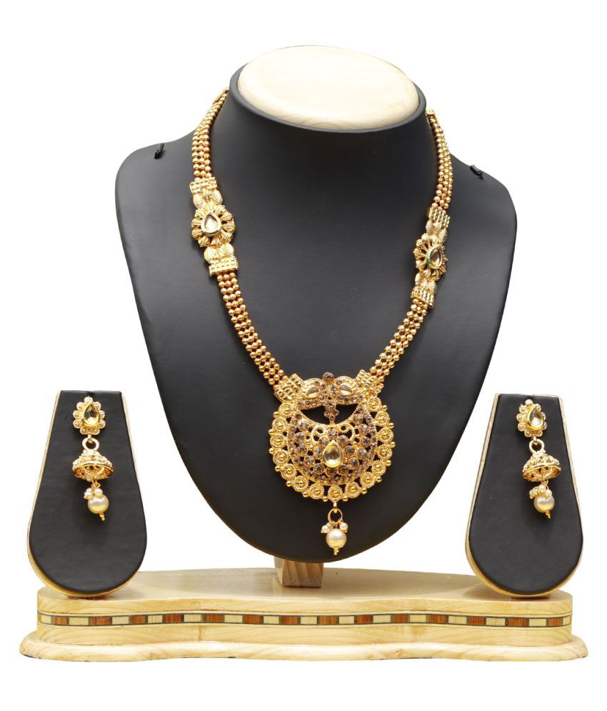 Dream On Alloy Golden Traditional Gold Plated Necklaces Set