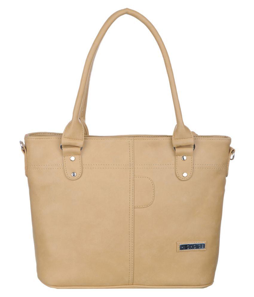 Hi Choice Beige Artificial Leather Shoulder Bag