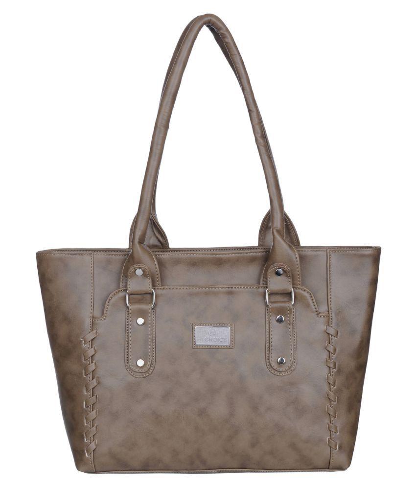 Hi Choice Khaki Artificial Leather Shoulder Bag