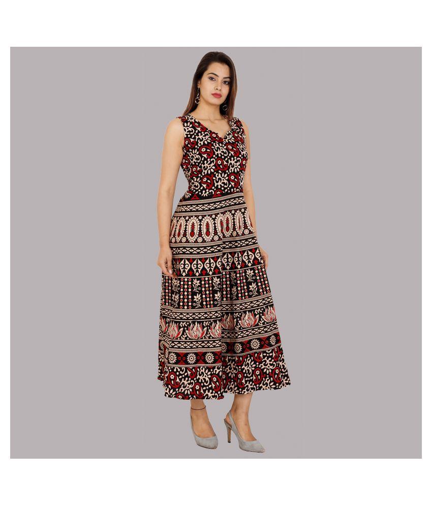 Rangun Cotton Brown A- line Dress