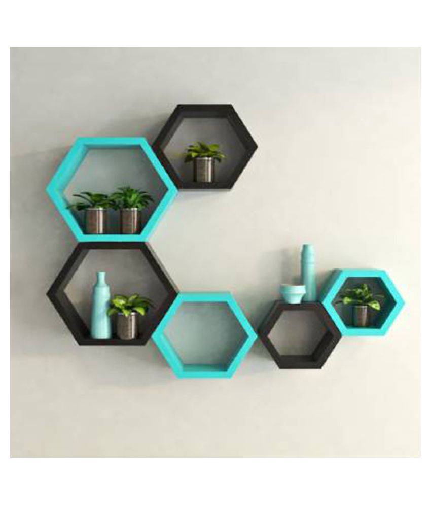 UNIVERSAL WOOD HANDICRAFTS Hexagonal Wall Shelf MDF Set of 6 (Blue&Black)