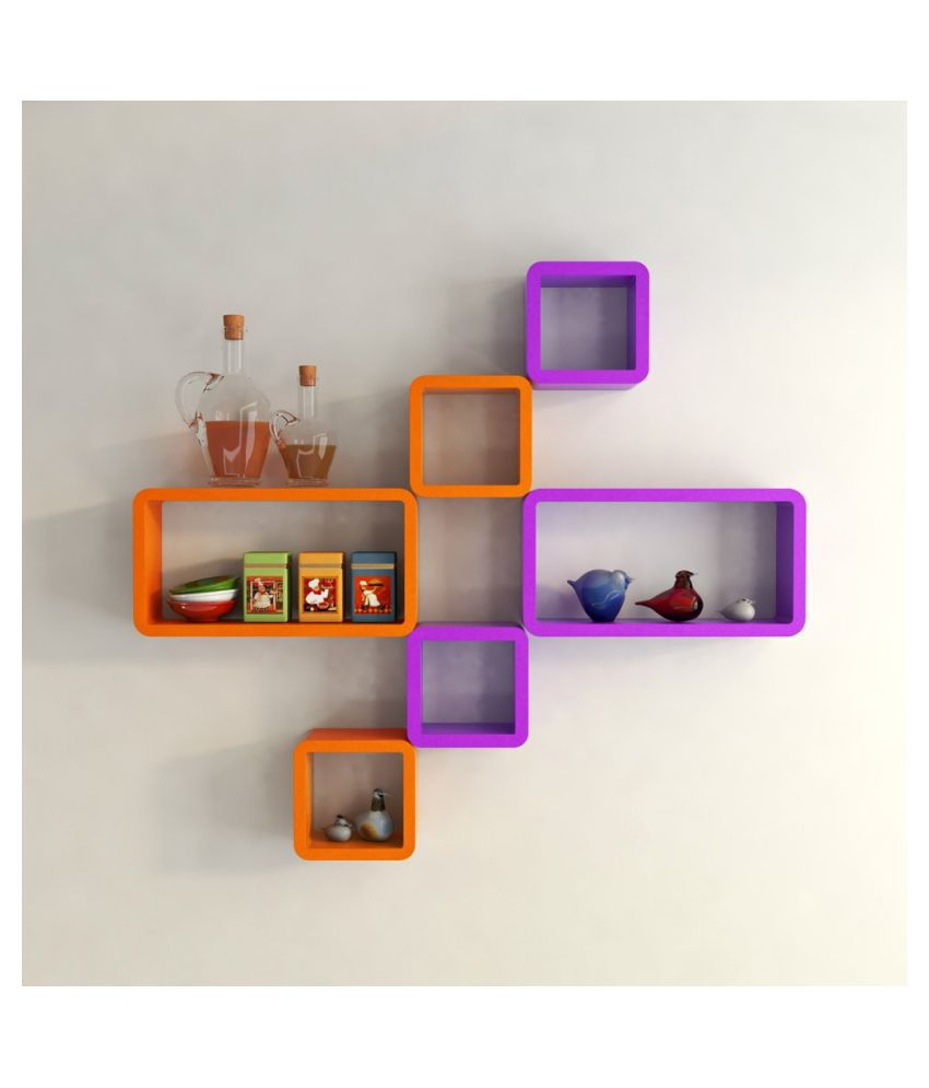 Universal Wood Handicrafts Cube Shape Wall Shelves Set Of 6 Modern Rectangle (Purple&Orange)