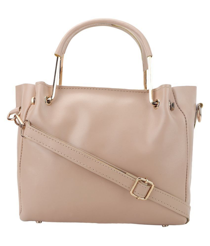Mh Leather Product Beige Faux Leather Handheld