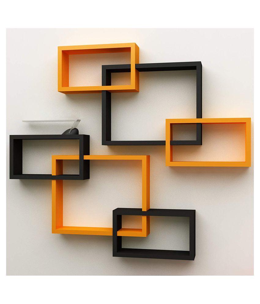 Universal Wood Handicrafts Rectangular Intersecting Wall Shelf Set of 6 (Black&Orange)