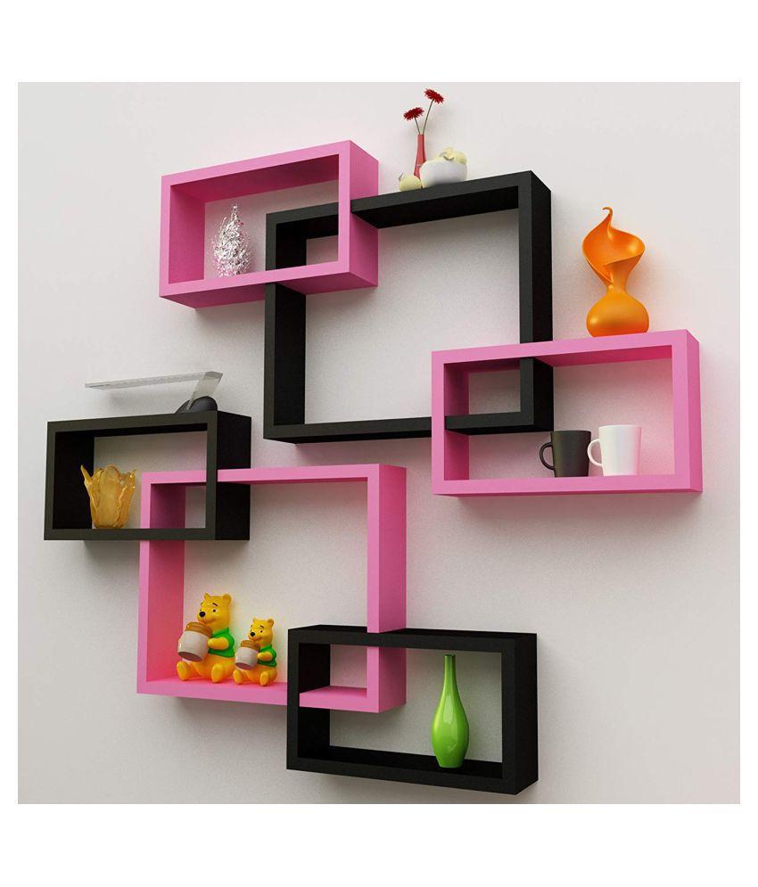 Universal Wood Handicrafts Rectangular Intersecting Wall Shelf Set of 6 (Black&Pink)