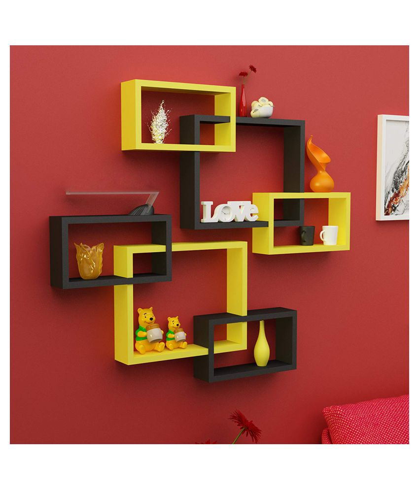 Universal Wood Handicrafts Rectangular Intersecting Wall Shelf Set of 6 (Black&Yellow)