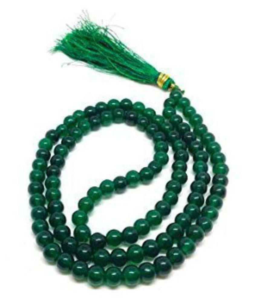 Malabar Gems Natural Green Jade 108 Beads 5mm Rosary Mala- Lab Certified