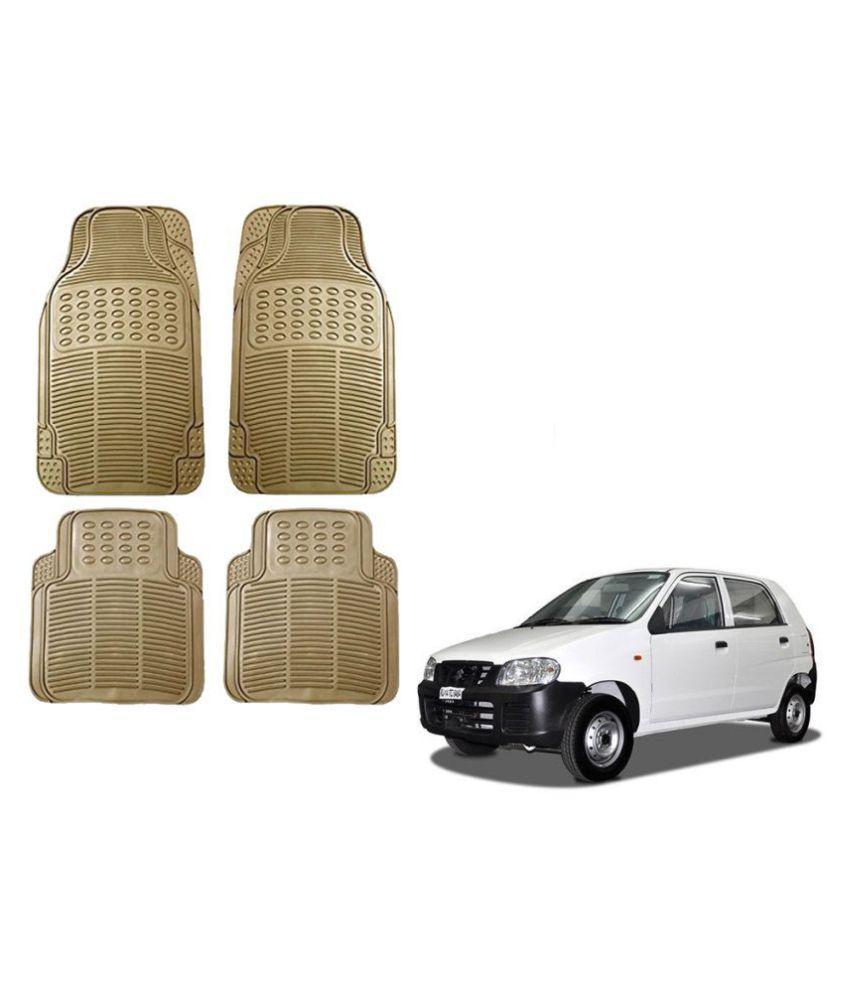 Auto Addict Car Simple Rubber Beige Mats Set of 4Pcs For Maruti Suzuki Alto