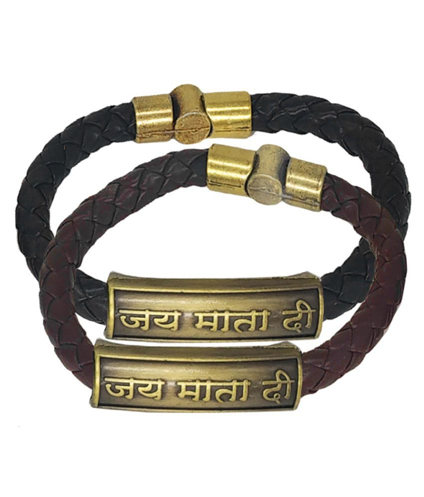 Men Style Jai Matadi Charm ID Black Brown Gold  Leather Stainless Steel Combo Bracelet