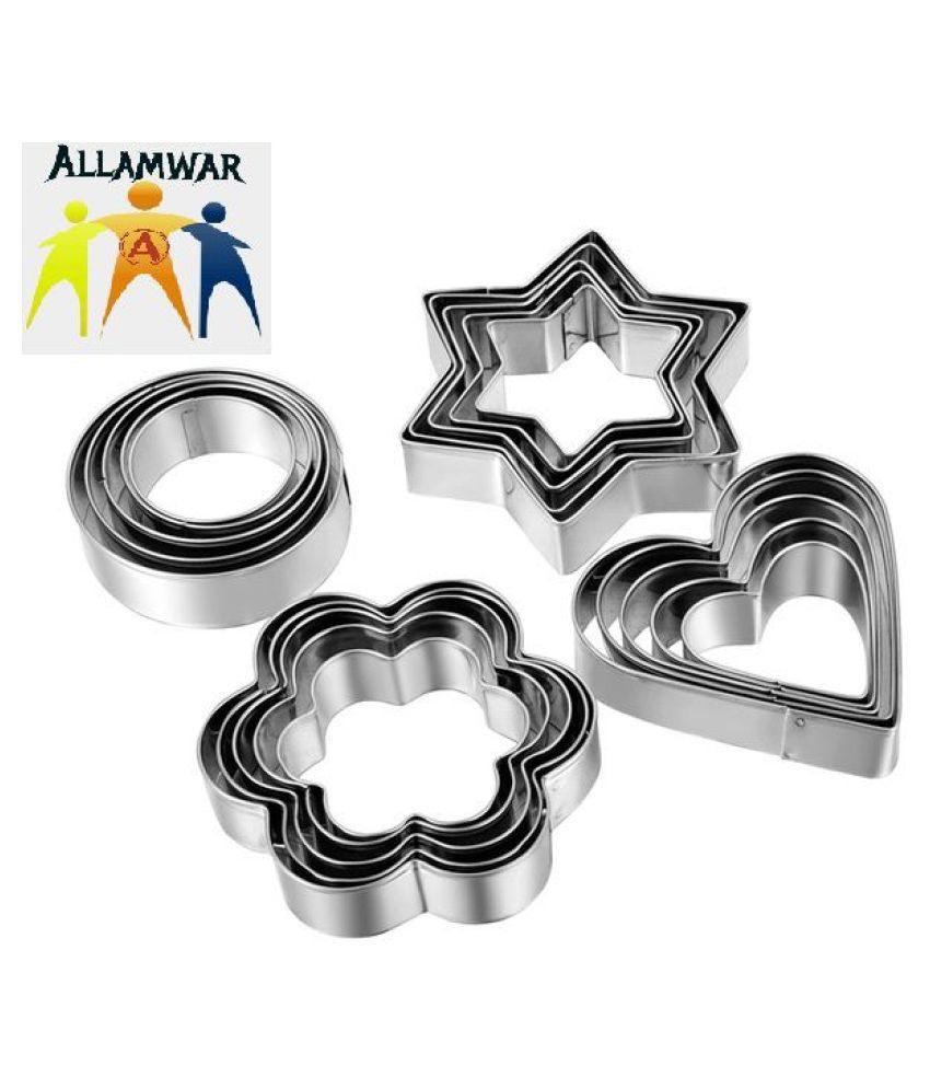 Allamwar 12pcs Stainless Steel Cookie Cutter Set Pastry Cookie Biscuit Cutter Cake Muffin Decor Mold Mould Multi Functional Tool