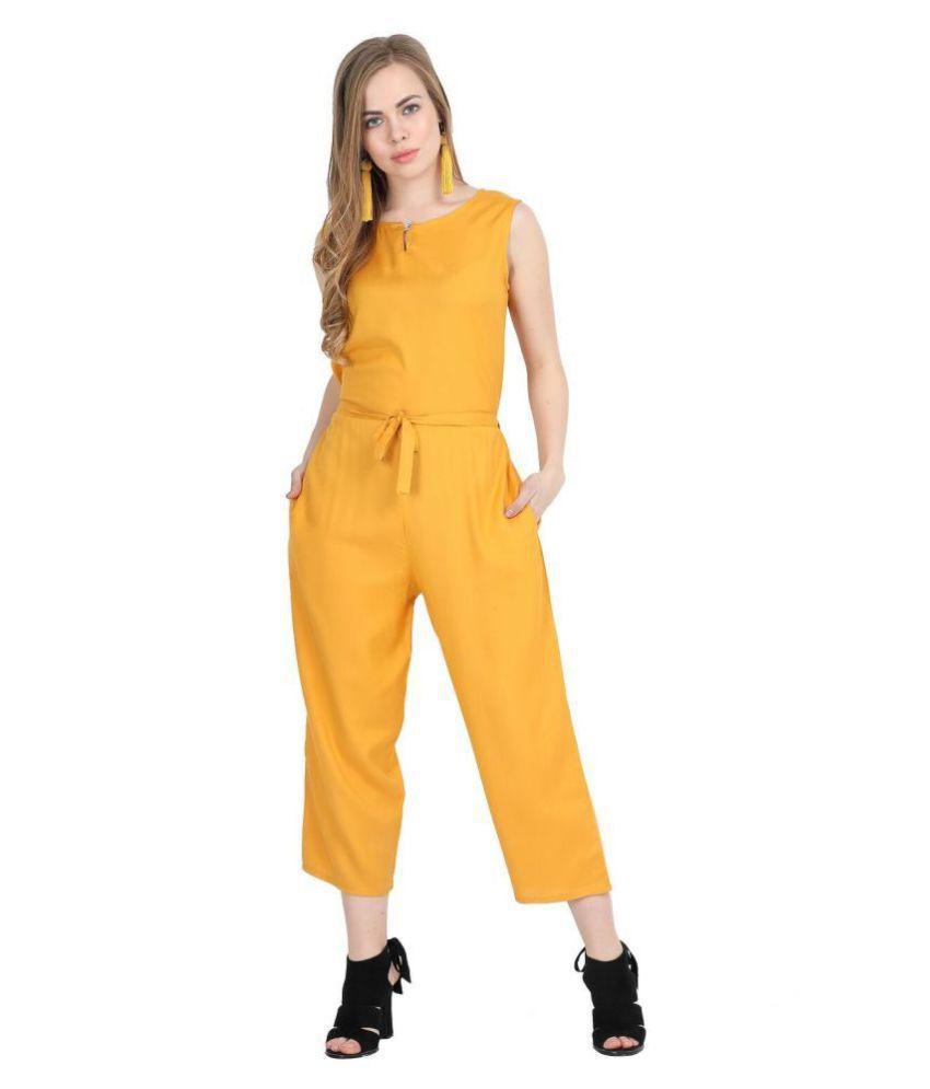 Cora Dora Yellow Rayon Jumpsuit
