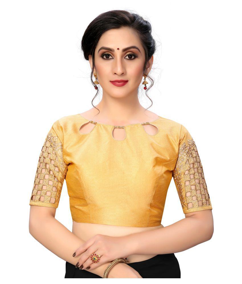 Fab Dadu Beige Silk Semi Stitched Blouse