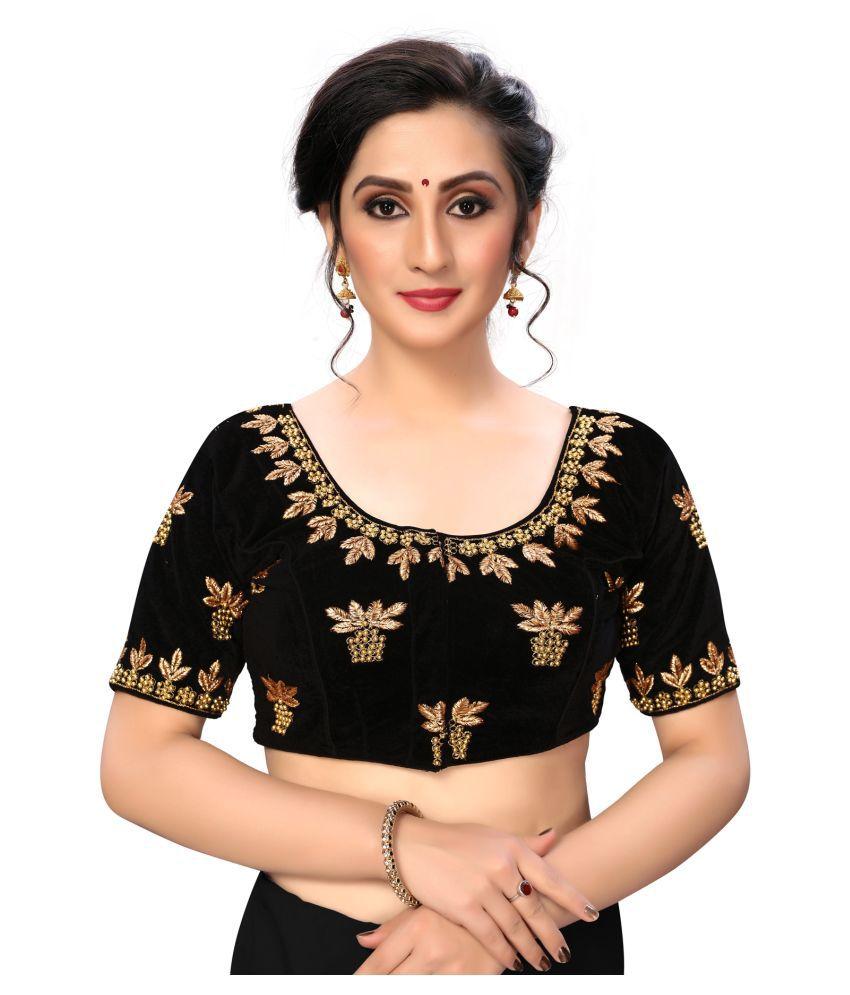 Fab Dadu Black Silk Semi Stitched Blouse