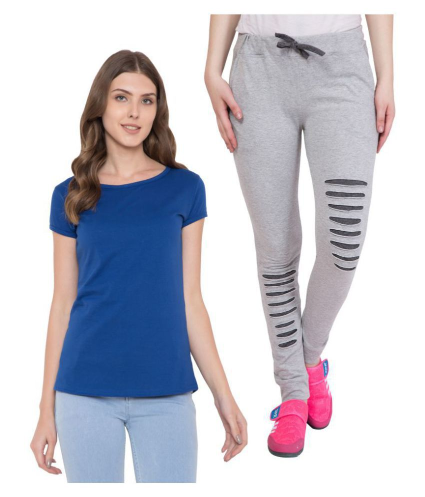 American-Elm Black,Blue Cotton Solid Tights