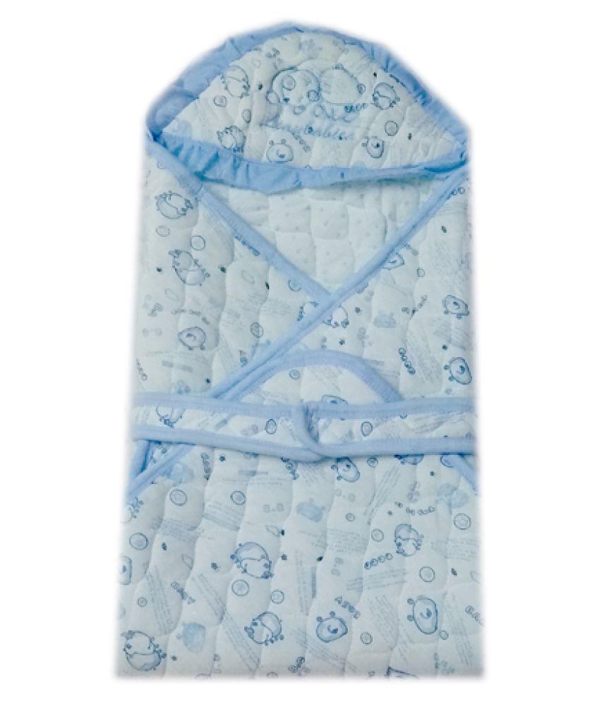 Squnibee Blue Poly Cotton Baby Wrap cum blanket ( 75 cm × 75 cm - 1 pcs)