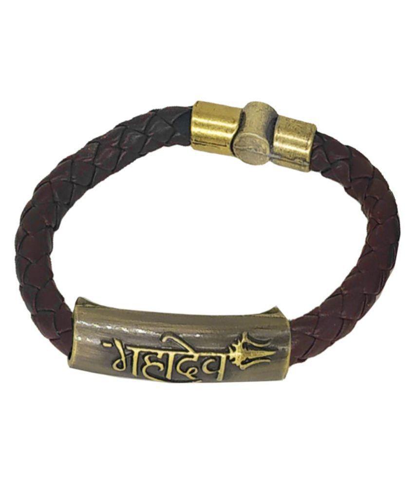 Shiv Jagdamba Mahadev Trishul Charm ID Brown Gold Leather Stainless Steel Bracelet