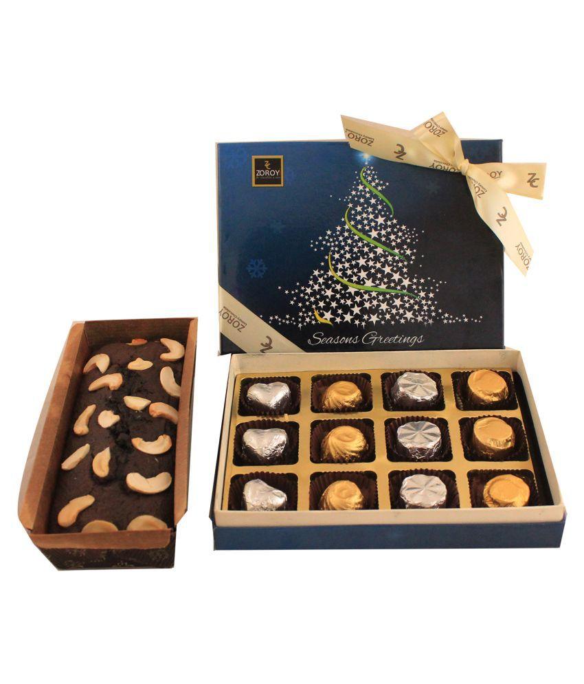 Zoroy Luxury Chocolate Assorted Box Christmas combo 12 chocolates Plum Cake 120 gm