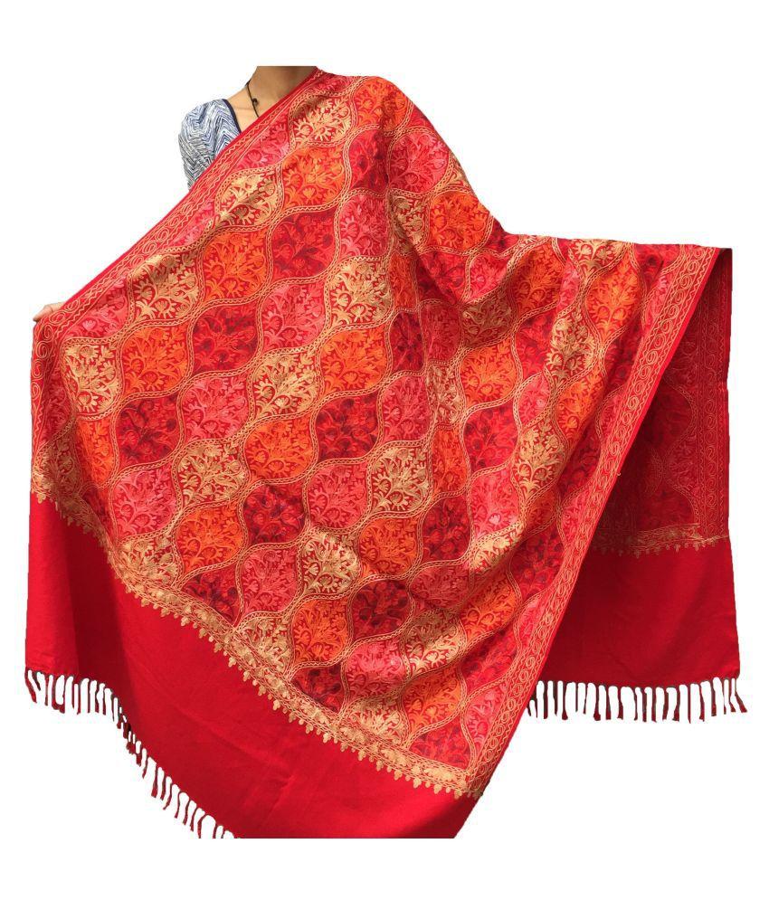 KASHMIRI Red Ari Embroidery Shawl