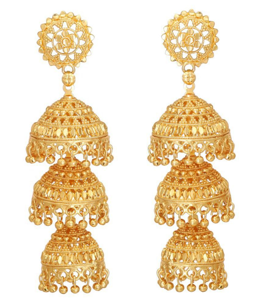 ZIKU JEWELRY One Gram Gold Plated Brass Metal Three Layer Temple Jhumki For Women & Girls