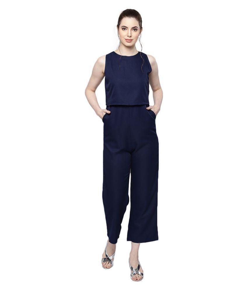 Trend Arrest Blue Polyester Jumpsuit