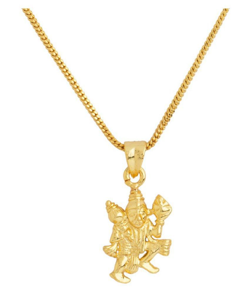 Jewar Mandi Neck Chain 24 Inch Gold Plated With Hanuman Ji Pendant Real Look Daily Use Gold Brass & Copper Jewelry for Women & Girls, Men & Boys 8237