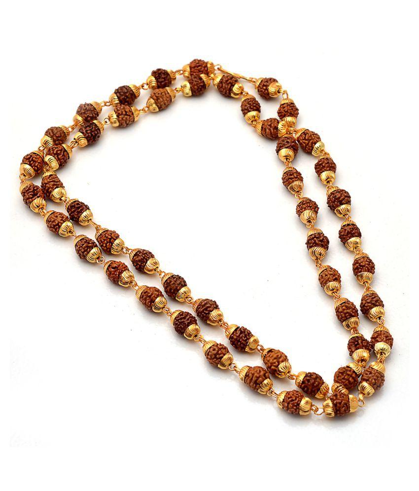 Jewar Mandi Rudraksha Mala Punch Mukhi 50 Beads Chain Fine Gold Plated Religious Daily Use Healthcare Mala for Men & Boys Women & Girls 6587