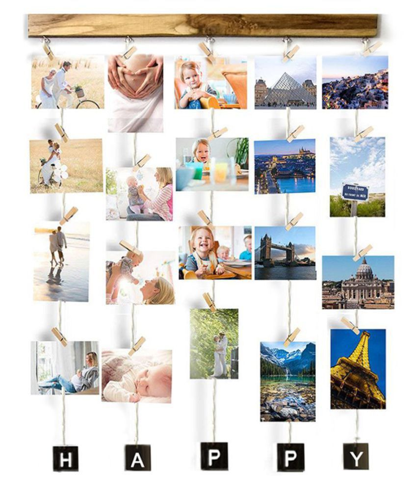 VAH VAH HAPPY Hanging Photo Display  Wall Hanging Wood Photographs Without Frame
